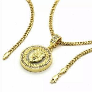 Other - 14K Gold Lion Medallion Pendant With Cuban Chain